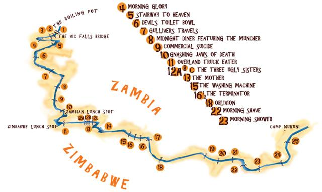 White water rafting route
