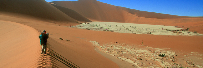 Walking on the dunes at Sossusvlei
