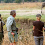 Phil Berry leading a walking safari from Kuyenda in South Luangwa National Park, Zambia