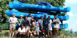 Gus Alexander leading one of the lower Zambezi canoe safaris for Natureways - courtesy James Varden