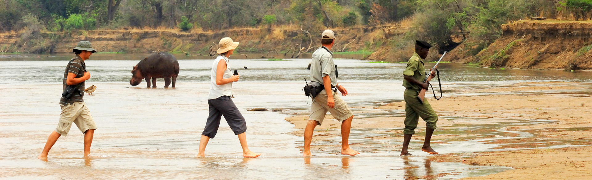 Crossing the Mwaleshi in the north Luangwa