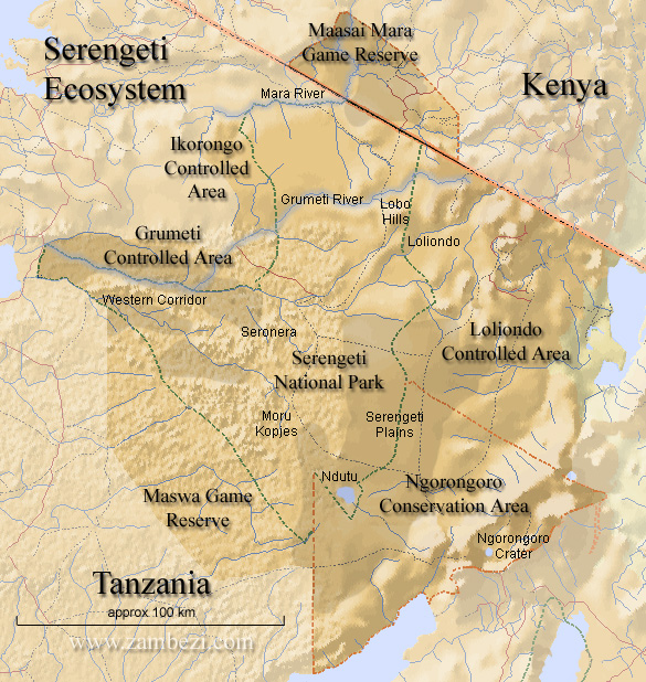 Map of the Serengeti eco-system with Kenya's Masai Mara in the north, Tanzania's Serengeti in the south.