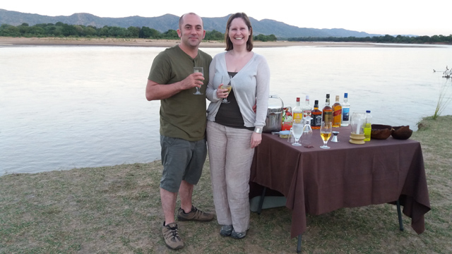 Richard and Natalie in the Luangwa Valley - winners of the 2015 Western Morning News competition