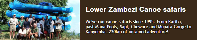 The lower Zambezi canoes safaris from Kariba, past Mana Pools, Sapi, Chewore and Mupata Gorge to Kanyemba. 230km of untamed adventure!