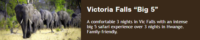 The simplest week long family-friendly safari from the Victoria Falls safari hub. A comfortable 3 nights in Vic