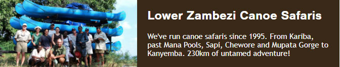 We've run canoe safaris since 1995. From Kariba, past Mana Pools, Sapi, Chewore and Mupata Gorge to Kanyemba. 230km of untamed adventure!
